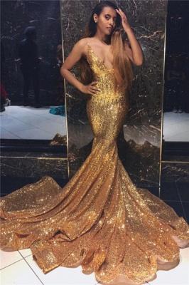 Newest Gold Elegant Mermaid Spaghetti Straps Sexy V-Neck Sleeveless Sequin Prom Dress UKes UK UK_1