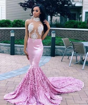 Elegant Pink Elegant Mermaid High Neck Sleeveless Sheer Tulle Applique Prom Dress UKes UK UK_2
