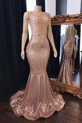 Sweet Pink Sequins Lace Appliques Elegant Trumpt Prom Dress UKes UK UK | Sleeveless Sheer Tulle Evening Dress UKes UK_1
