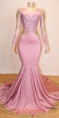 Sweet Pink Lace Appliques Long Sleeves Prom Dress UKes UK UK   Luxury Elegant Trumpt Evening Dress UKes UK_3