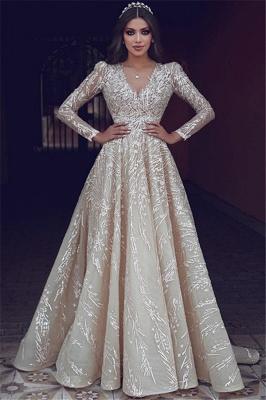 Elegant Long Sleeve Evening Dresses UK | Appliques V-neck New Arrival Prom Dresses_1