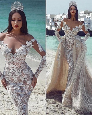 Sexy Sexy V-Neck Long Sleeves Tulle Applique Bridal Gowns with Overskirt_2
