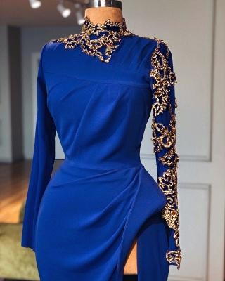 Royal Blue High Neck Side Slit Elegant Trumpt Prom Dress UKes UK UK | Sexy Long Sleeves Lace Appliques Evening Dress UKes UK_2