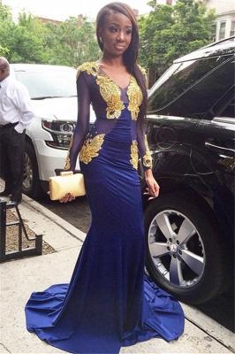 Amazing Elegant Mermaid Sexy V-Neck Long Sleeves Velvet Gold Lace Appliques Prom Dress UKes UK UK_1