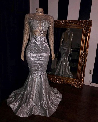 Sexy Lace Appliques Sheer Tulle Prom Dress UKes UK UK | Sliver Long Sleeves Elegant Trumpt Evening Dress UKes UK_2