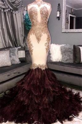 Luxury Elegant Mermaid High Neck Sleeveless Fur Lace Appliques Prom Dress UKes UK UK_1