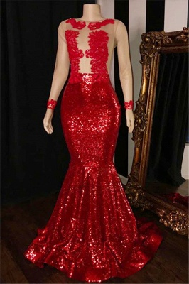 Long Sleeves Sequins Elegant Trumpt Prom Gowns | Simple Sheer Tulle Red Long Evening Dress UK_1