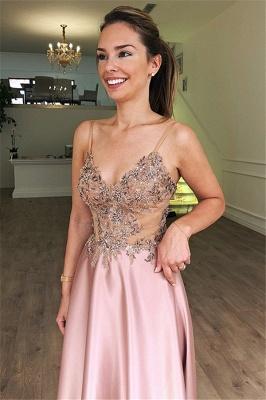 Luxury A-Line Spaghetti Straps Sleeveless Beads Pink Prom Dress UKes UK UK_2