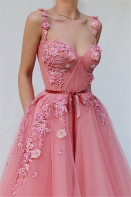 Pink Luxury A-line Spaghetti Tulle Flower Applique Prom Dress UKes UK UK_2