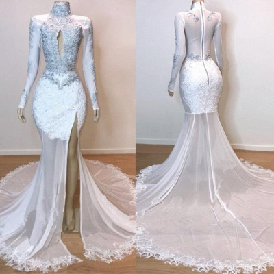White Stunning Lace Long Sleeves Prom Dress UKes UK UK | Sheer Tulle Slit Elegant Trumpt Evening Dress UKes UK_4