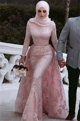 Sweet Pink Detachable Long-Sleeves Prom Dress UKes UK UK | Sexy Lace Appliques Lace Elegant Trumpt Evening Dress UKes UK_3