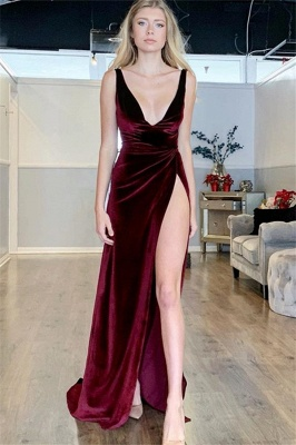 Elegant Burgundy Maroon A-Line Sexy V-Neck Sleeveless Side Slit Velvet Prom Dress UKes UK UK_1