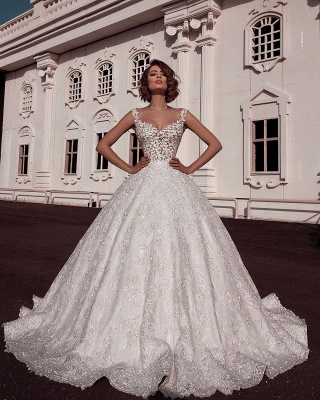 Sexy Ball Gown Spaghetti Straps Sleeveless Lace Applique Bridal Gowns_2