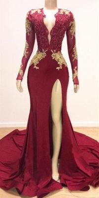 Alluring Deep V-neck Long Sleeves Lace Appliques Split Elegant Trumpt Evening Dress UKes UK_2