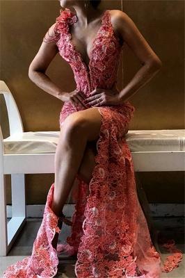 Luxury Sexy V-Neck Flower Side Slit Sleeveless Prom Dress UKes UK UK_1