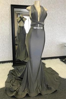 Elegant Hot Mermaid Halter Sleeveless Crystal Criss Cross Prom Dress UKes UK UK_1