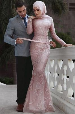 Sweet Pink Detachable Long-Sleeves Prom Dress UKes UK UK | Sexy Lace Appliques Lace Elegant Trumpt Evening Dress UKes UK_1