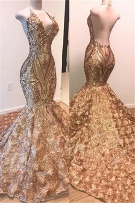 Simple Gold Sequins Sleeveless Prom Dress UK | Shiny Elegant Trumpt Evening Dress UKes UK With Florals Bottom_1