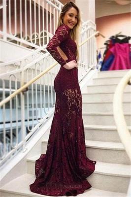 Luxury Elegant Mermaid High Neck Long Sleeves Lace Prom Dress UKes UK UK_2