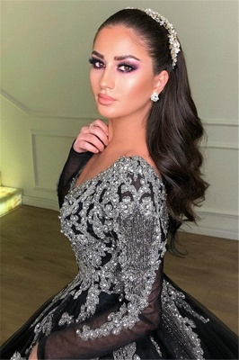 Timeless Black Ball Gown Seductive Deep Sexy V-Neck Long Sleeves Lace Appliques Overskirt Affordable Evening Dress UKes UK UK_2
