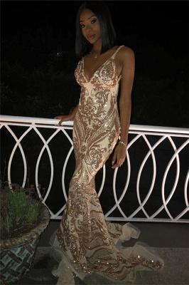Elegant Sexy V-Neck Spaghetti Straps Sleeveless Gold Lace Appliques Elegant Mermaid Prom Dress UKes UK UK_3