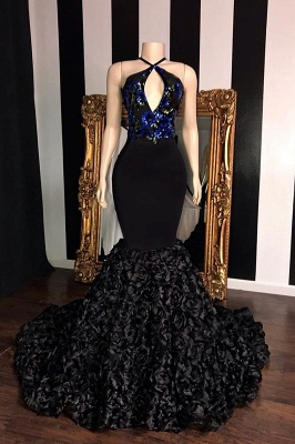 Timeless black Sleeveless Florals Elegant Trumpt Prom Dress UKes UK UK | Sexy Halter Sequins Lace Appliques Evening Dress UKes UK_1