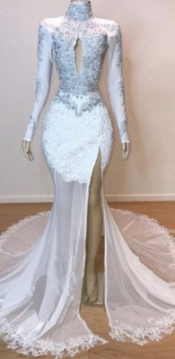 White Stunning Lace Long Sleeves Prom Dress UKes UK UK | Sheer Tulle Slit Elegant Trumpt Evening Dress UKes UK_2