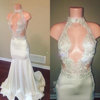 Halter Sleeveless Sheer Lace Appliques High Neck Elegant Trumpt Prom Dress UKes UK UK_3