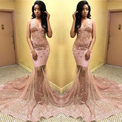 Elegant Pink Sleeveless Spaghetti Straps Tulle Lace Appliques Elegant Mermaid Prom Dress UKes UK UK_2