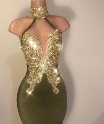 Timeless Column High Neck Ruffles Sequined Prom Dress UK_2