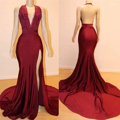 Elegant Backless Burgundy Maroon Prom Dress UKes UK UK with Slit | Sexy V-Neck Halter Affordable Evening Gowns with Court Train_2