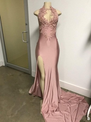 Pink Sleeveless Front Slit Appliqued Long Elegant Mermaid Prom Dress UKes UK UK_4