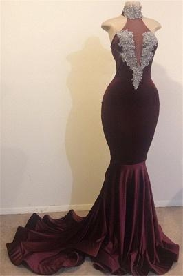 Burgundy Maroon Elegant Mermaid High Neck Velvet Prom Dress UKes UK UK_1