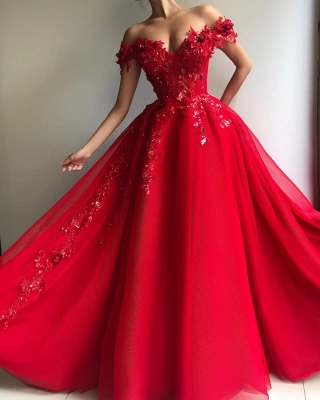 Amazing Ball Gown Off The Shoulder Applique Flowers Affordable Evening Dress UKes UK UK_2