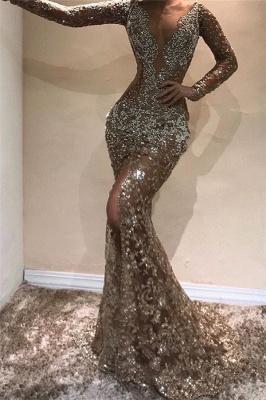 Amazing Elegant Mermaid Long Sleeves Open Back Sequin Prom Dress UKes UK UK_1