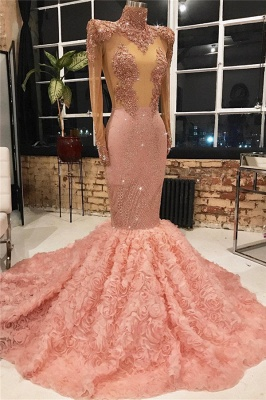 New Arrival Pink Elegant Mermaid High Neck Long Sleeves Flower Appiques Prom Dress UKes UK UK_1