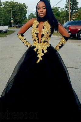 Chic Gold Lace Appliques Ball Gown Prom Dress UKes UK UK | Sexy Timeless black Halter Tulle Evening Dress UKes UK_1