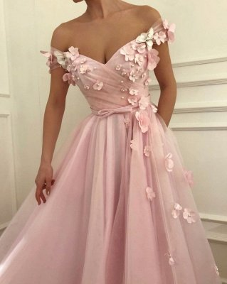 Sweet Pink Florals A-Line Tulle Long Sexy Prom Dress UK | Sexy Off-the-Shoulder Evening Dress UKes UK_3