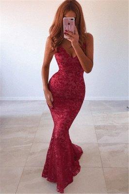 New Arrival Sexy V-Neck Lace Open Back Elegant Mermaid Prom Dress UKes UK UK_1
