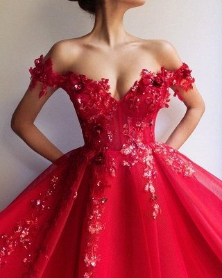 Amazing Ball Gown Off The Shoulder Applique Flowers Affordable Evening Dress UKes UK UK_3