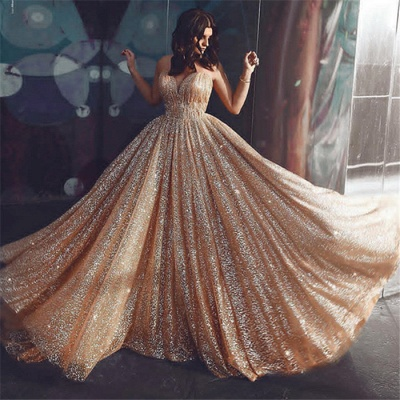 Champagne Elgant A-line Spaghetti Straps Backless Sequin Prom Dress UKes UK UK_3