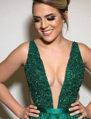 Gormeous Sexy V-Neck Sleeveless A-Line Tulle Beading Prom Dress UKes UK UK_3