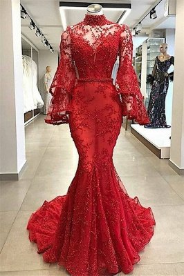 Luxury red High Neck Sheer Tulle Long Sleeves Beading Elegant Mermaid Prom Dress UKes UK UK_1
