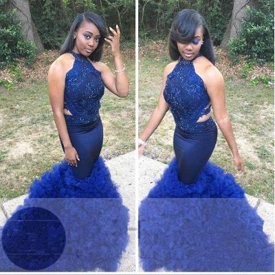Royal Blue Halter Sleeveless Prom Gown | Elegant Floral Lace Appliques Elegant Trumpt Evening Dress UK_2