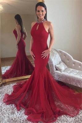Sexy Elegant Mermaid High Neck Sleeveless Sparkly Crystal Prom Dress UKes UK UK_1
