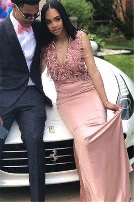 Elegant Straps Fur V-Neck Sexy Prom Dress UKes UK UK | Sweet Pink Sleeveless Elegant Trumpt Evening Dress UKes UK_1