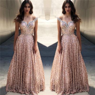 Rose Gold Sequin Affordable Evening Dress UKes UK UK |Sexy Off The Shoulder Elegant Bling-bling Prom Dress UK_2