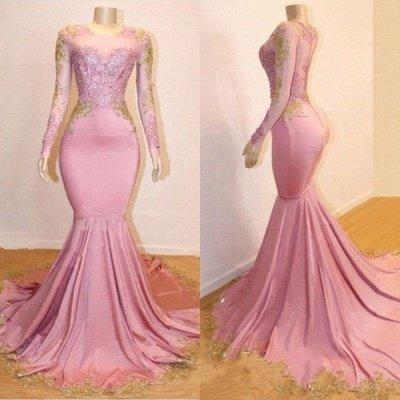 Sweet Pink Lace Appliques Long Sleeves Prom Dress UKes UK UK | Luxury Elegant Trumpt Evening Dress UKes UK_2