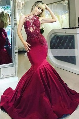 Burgundy Maroon Luxury Sheer Straps Applique Elegant Mermaid Prom Dress UKes UK UK_1