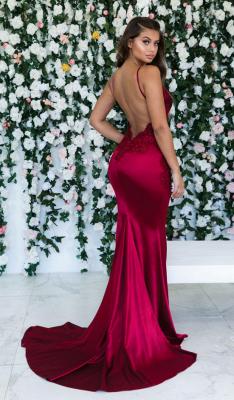 Wine Red Maroon Sleeveless Elegant Trumpt Backless Prom Dress UKes UK UK | Sexy Spaghetti-Straps Lace Appliques Evening Dress UKes UK_2